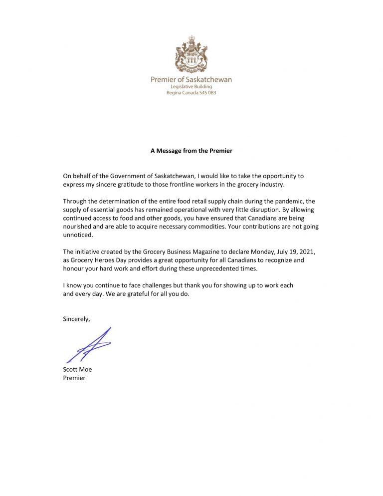 Premier ministre de la Saskatchewan